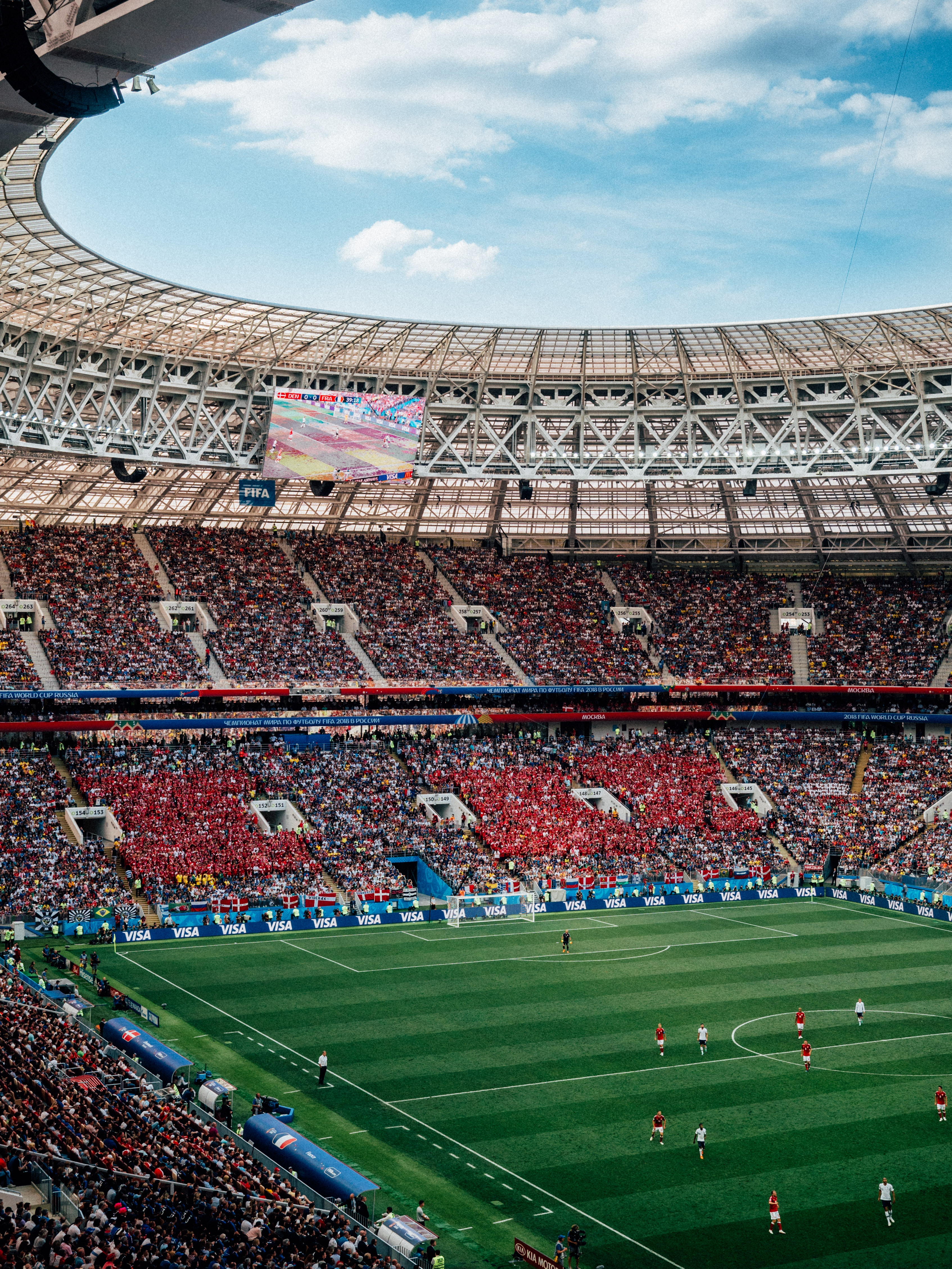 A view of the Moscow World Cup stadium full of fans--MediaFusion Live Streaming